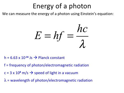 Energy Of Light Equation by Photon And Energy Levels