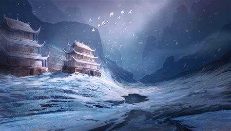 fantasy Art, Temple, Snow, Artwork, Birds Wallpapers HD ...