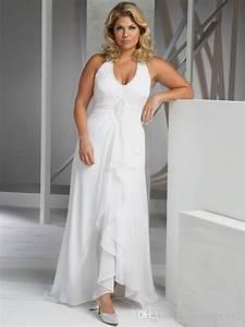 2016 beach plus size wedding dresses cheap v neck halter With cheap plus size beach wedding dresses