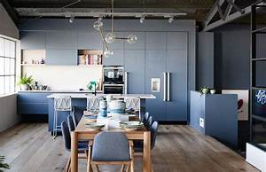 cuisine bleu gris canard ou bleu marine code couleur et With kitchen cabinet trends 2018 combined with how to frame fabric for wall art