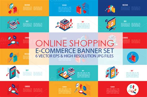 shopping isometric banner set illustrations