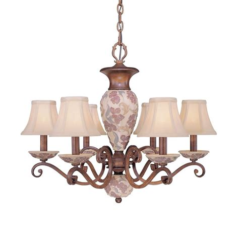 shaded chandelier shop classic lighting tapestry 26 in 6 light honey walnut