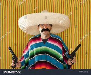 Bandit Mexican Revolver Mustache Gunman Sombrero Poncho ...