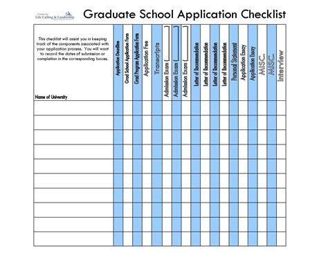 graduate school application checklist  stay organized
