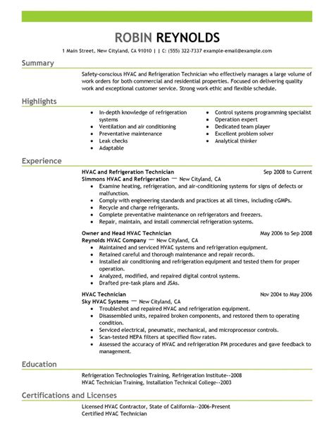 hvac installer job description for resume entry level hvac resume sample quotes