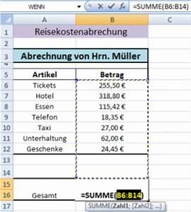 Fehler 1 Art Berechnen : excel summenfunktion office ~ Themetempest.com Abrechnung