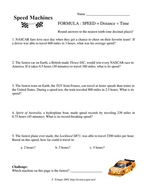 speed machines worksheet the large and most