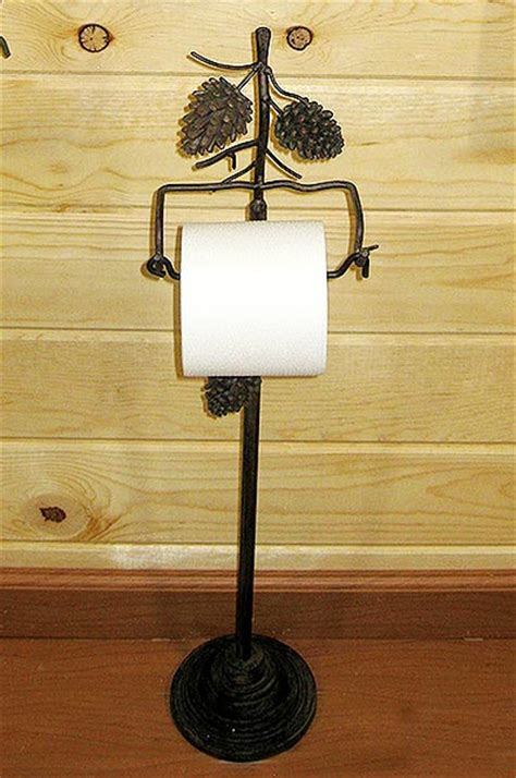 country pine cone  standing toilet paper holder cabin