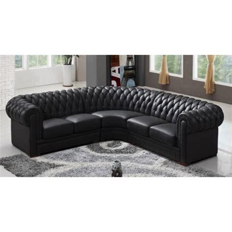 canapé d 39 angle capitonné cuir chesterfield noir achat