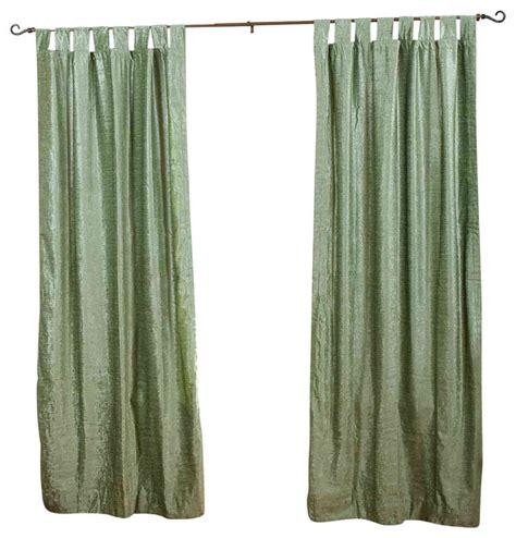 Olive Green Curtains Drapes - olive green tab top velvet curtain drape panel 80w x