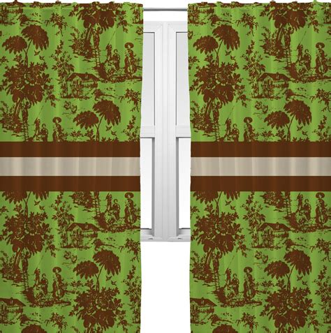 green brown toile curtains 20 quot x84 quot panels unlined 2