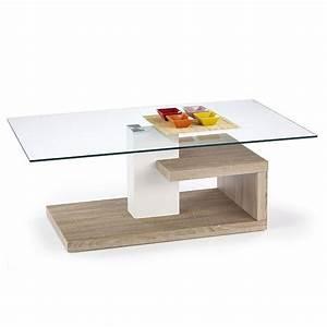 Table basse design blanc et bois Line - Tables basses design