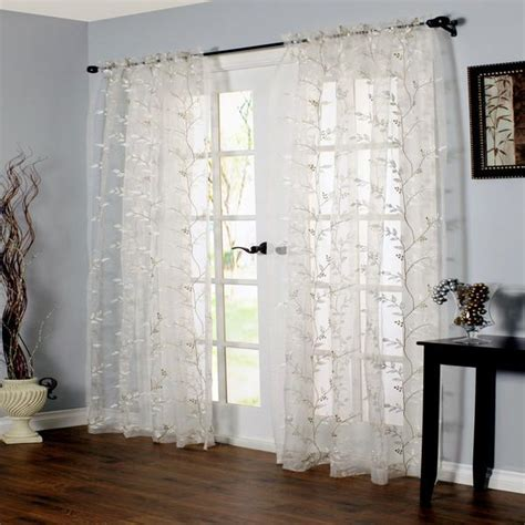 Venice Embroidered Sheer Rod Pocket Panel   Curtainshop.com