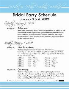 design samples With wedding party schedule template