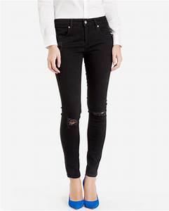 Ted baker Black Distressed Skinny Jeans in Black | Lyst