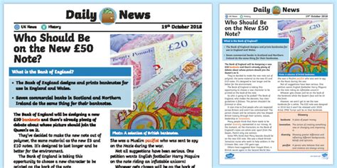 * New * Uks2 New £50 Note Daily News Story  Money, The Queen