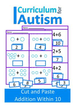 addition 1 10 math worksheets autism special education cut and paste