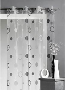 Rideau Noir Et Gris : voilage organza jacquard aux motifs cercles gris figue blanc turquoise beige ~ Melissatoandfro.com Idées de Décoration