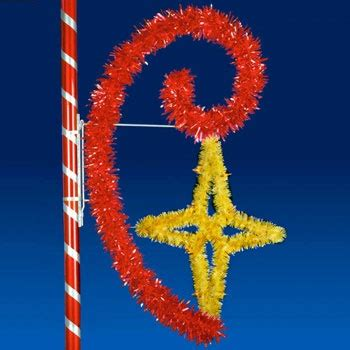 outdoor christmas decorations  star scroll pole mount