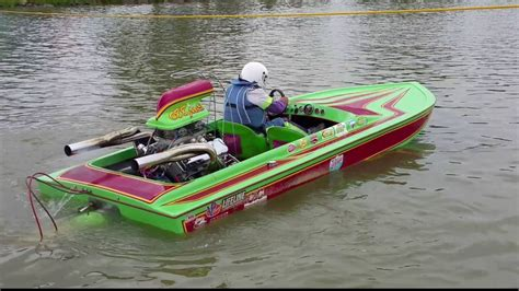 Drag Boat Racing by Modified Eliminator Jet Boat At Lucas Drag Boat Racing