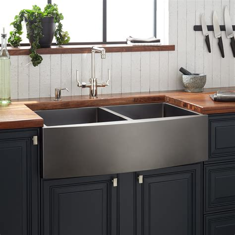 Black Stainless Steel Farmhouse Sink by 16 Stainless Steel Sink Signature Hardware