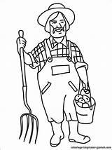 Colorare Fermier Contadino Agricultor Kolorowanka Dibujo Contadini Kleurplaten Profesiones Kolorowanki Mestieri Camponês Fazendeiro Seau Vorlagen Agricoltore Colorier Profesión Berufe Zawód sketch template