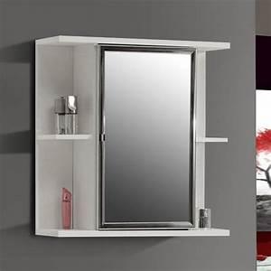 Champ pharmacie miroir blanc mat et blanc brillant achat for Pharmacie salle de bain avec miroir