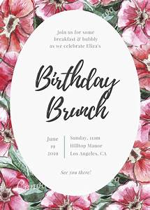 Design Your Own For Free Lettering Floral Birthday Brunch Invitation Templates By Canva