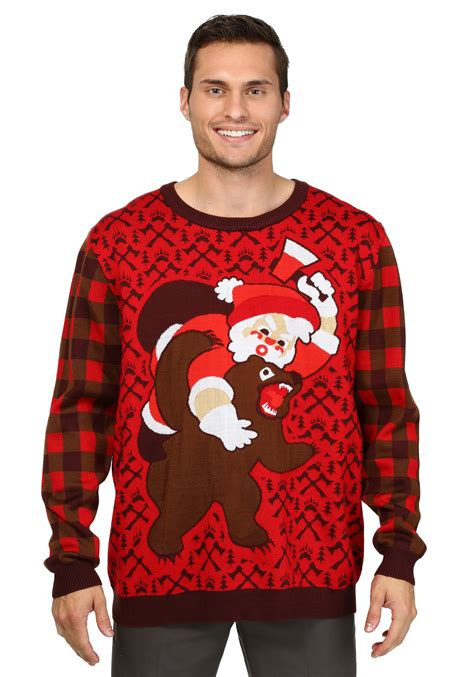 santa vs bear ugly christmas sweater