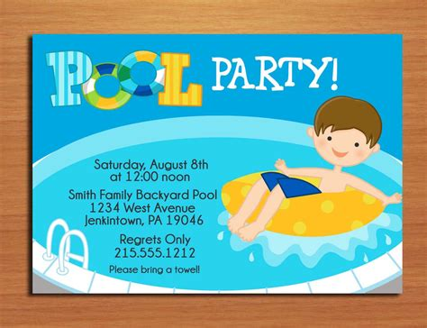pool invitation template pool invitations