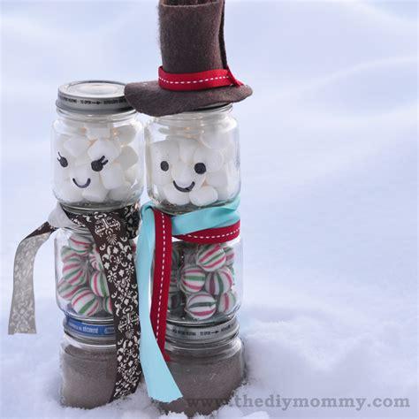 a handmade christmas make a snowman hot chocolate jar