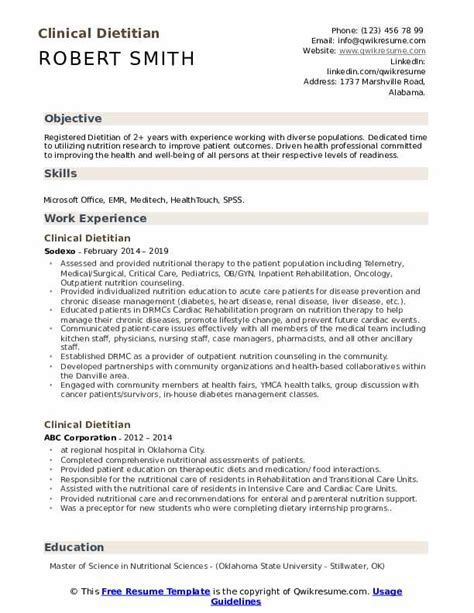 Dietitian Resume by Clinical Dietitian Resume Sles Qwikresume