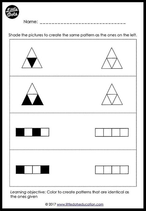download patterns matching worksheets for preschool and kindergarten class link to free