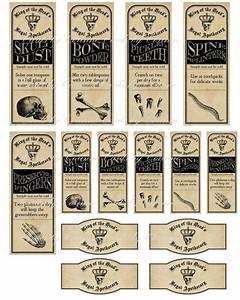 Vintage Inspired Halloween 14 Assorted Bottle Label