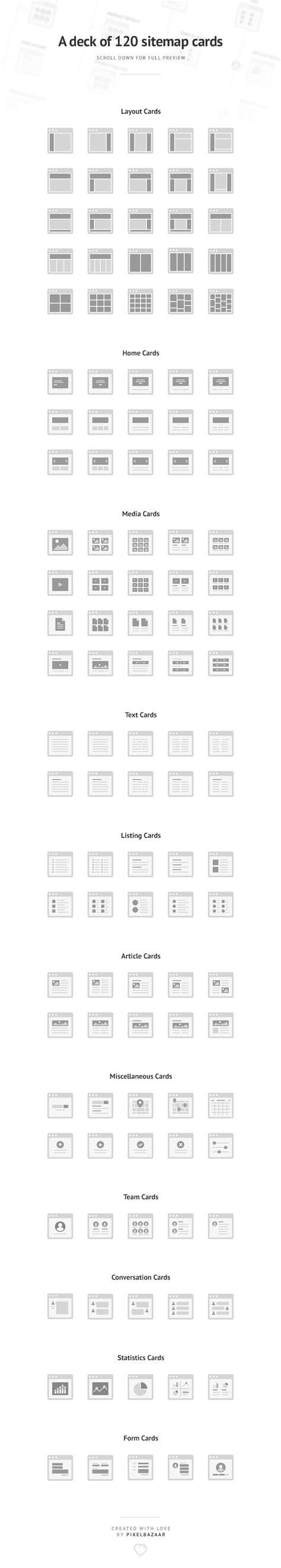 Simple Sitemap Cards  120 Vector Website Sitemaps