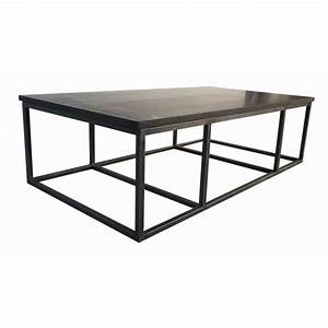 Noir stone metal i coffee table for Metal and stone coffee table