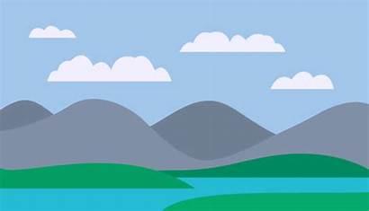 Mountain Lake Vector Illustrations Cartoon Clip Landscape