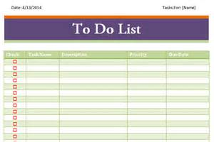 Printable to Do List Templates Excel