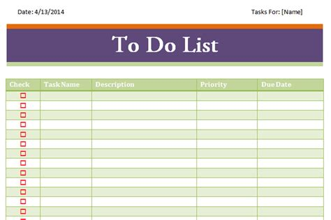 Todo List Template Excel Costumepartyrun