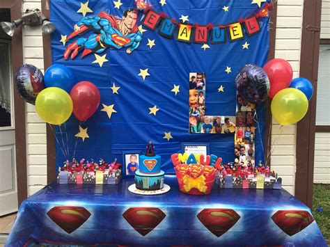 Superman Party Theme Setup.. Love The #4 Out Of Babys Pics