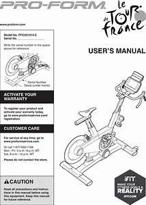 Proform Pfex019140 Le Tour De France Bike Users Manual