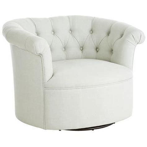 roll arm ivory button tufted swivel chair