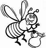 Bee Coloring Honey Cartoon Maya Boyama Kovani Ari Sayfalari Ve Delicious Template sketch template