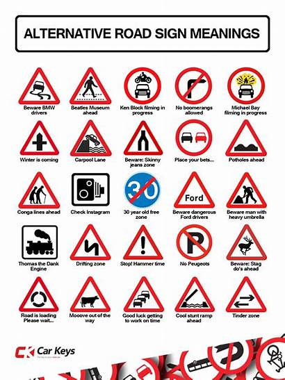 Road Signs Meanings Sign Funny Alternative Driving