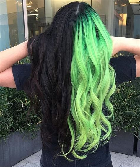 Split Haircolor Black And Neon Green In 2019 Hair Color