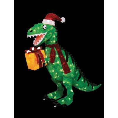home accents holiday   animated tinsel dinosaur