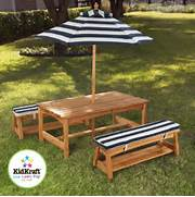 Outdoor Patio Furniture With Bench Seating by Kidkraft Outdoor Kids Table And Chairs Set 2 Chair Benches Umbrella Picnic To