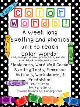 color words spelling  phonics worksheets
