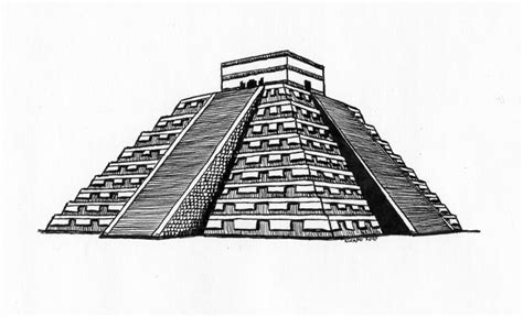 Drawn Pyramid Aztec Pyramid