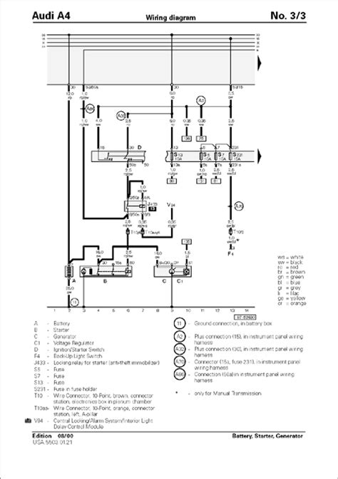 Audi B5 S4 Wiring Diagram by Gallery Audi Audi Repair Manual A4 1996 2001